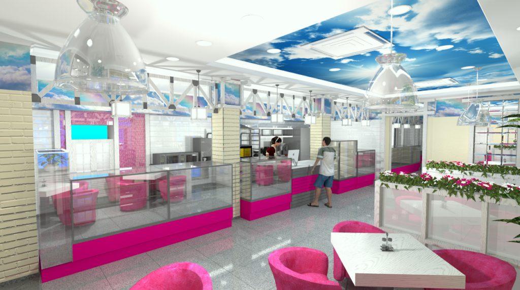 Дизайн зала кафе